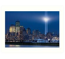 9/11 Tribute Lights and the Freedom Tower Art Print