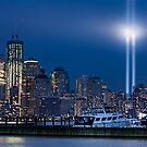9/11 Tribute Lights and the Freedom Tower by Chris Lord
