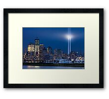 9/11 Tribute Lights and the Freedom Tower Framed Print