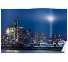 9/11 Tribute Lights and the Freedom Tower Poster