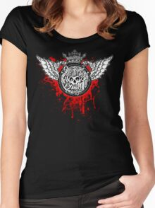 simko surreal bloody winged skull Women's Fitted Scoop T-Shirt