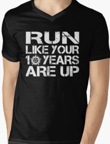 Run like your 10 years are up. Mens V-Neck T-Shirt