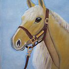 Palomino horse portrait oil painting by coolart