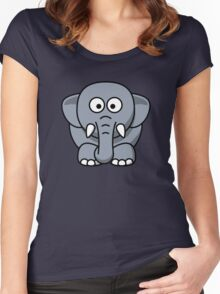 Elephant Vector Cartoon Women's Fitted Scoop T-Shirt