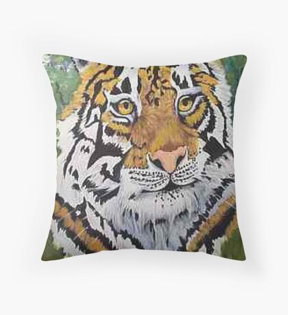 Siberian Tiger portrait oil painting Throw Pillow