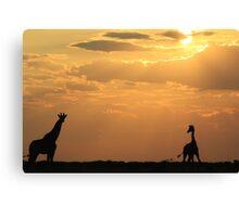 Giraffe Sunset - African Wildlife - Silhouette Pair Canvas Print