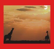 Giraffe Sunset - African Wildlife - Silhouette Pair Kids Tee