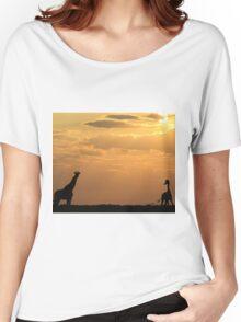 Giraffe Sunset - African Wildlife - Silhouette Pair Women's Relaxed Fit T-Shirt