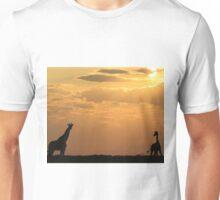 Giraffe Sunset - African Wildlife - Silhouette Pair Unisex T-Shirt