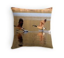 Geese Launching Throw Pillow