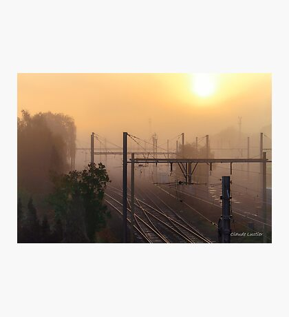 Misty weather on the railways Photographic Print
