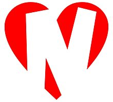 I love N - Heart N - Heart with letter N by theshirtshops
