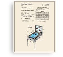 Pinball Machine Patent - Colour Canvas Print