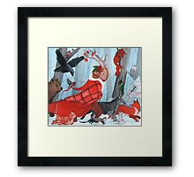 Winter stroll with the furry friends Framed Print