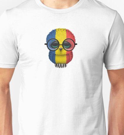 Nerdy Romanian Baby Owl on a Branch Unisex T-Shirt