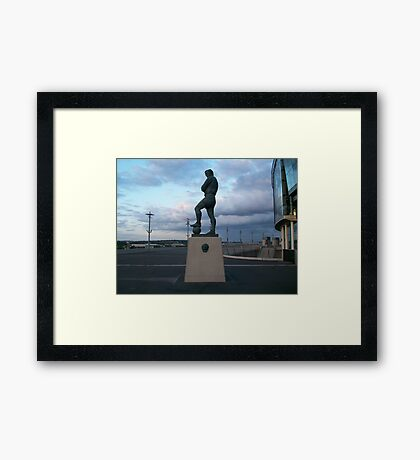 bobby moore statue side view taken from wembley Framed Print