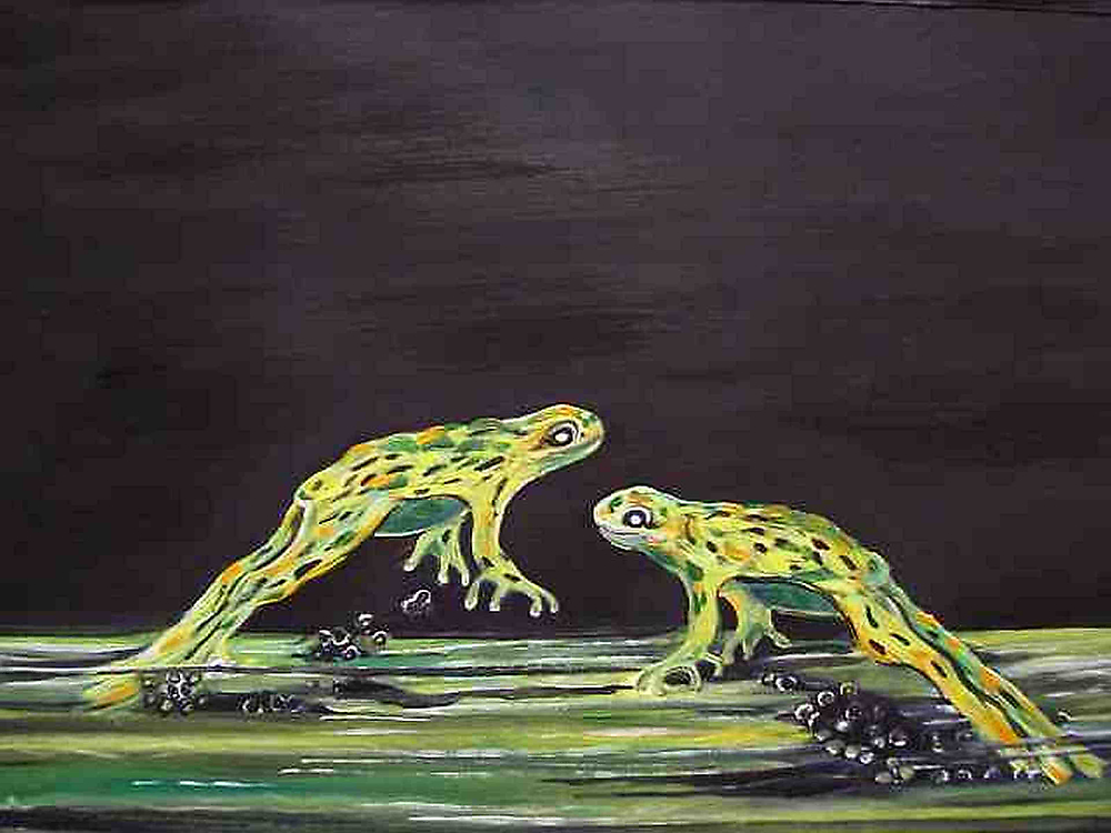 Forgs leaping oil painting by coolart