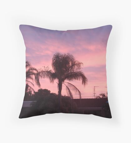 2 Pink Palm Trees Throw Pillow