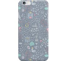 Doodle cats and flowers iPhone Case/Skin