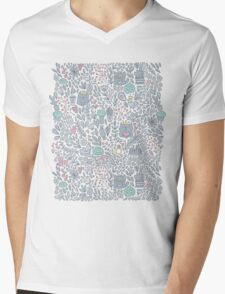Doodle cats and flowers Mens V-Neck T-Shirt