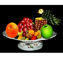 DELICIOUS PLATE OF FRUIT WITH PINEAPPLE BIRD-- PICTURE AND OR CARD Photographic Print