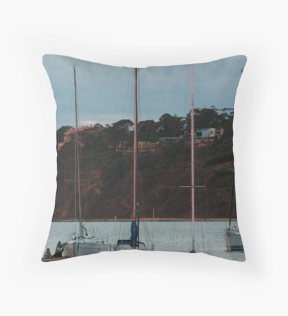 Yachts on the harbour Throw Pillow