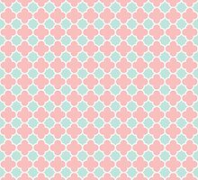 Coral and Mint Green Quatrefoil Pattern  by TigerLynx