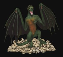 Dragon and skulls by LoneAngel
