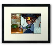Drunk man with a rifle Framed Print