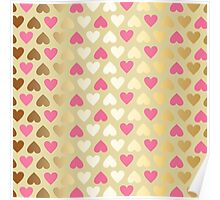 Faux Gold & Pink Hearts  Poster