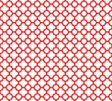 White and Red Quatrefoil Pattern by TigerLynx
