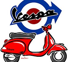 Vespa LX scooter red by car2oonz