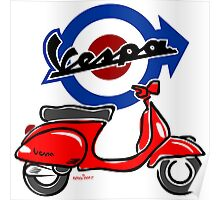 Vespa LX scooter red Poster