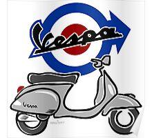 Vespa LX scooter silver Poster