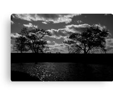 Lonely Benches - B&W Canvas Print