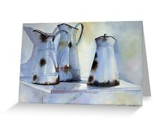 Old Enamel Pitchers Greeting Card