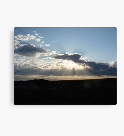 Perfect Sun Rays in my Brother's Backyard! Canvas Print