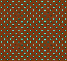 Brown and Turquoise Spotty Polka Dot Pattern by TigerLynx