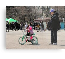 Mom Teaching Daughter to Ride a Bike Metal Print
