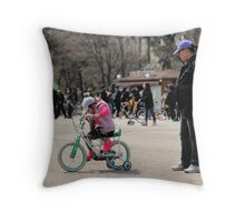 Mom Teaching Daughter to Ride a Bike Throw Pillow
