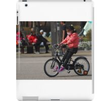 Young Korean Girl Learning to Ride a Bike iPad Case/Skin