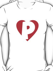 I love P - Heart P - Heart with letter P T-Shirt