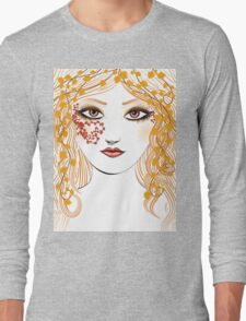 Autumn girl face Long Sleeve T-Shirt