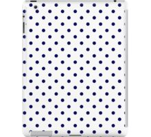 White and Navy Blue Polka Dot Pattern iPad Case/Skin