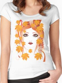 Autumn Girl face 4 Women's Fitted Scoop T-Shirt