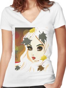 Autumn girl with white hair Women's Fitted V-Neck T-Shirt