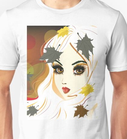 Autumn girl with white hair Unisex T-Shirt