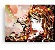 Autumn Girl face 3 Canvas Print