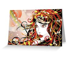 Autumn Girl face 3 Greeting Card
