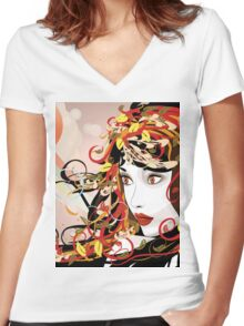 Autumn Girl face 3 Women's Fitted V-Neck T-Shirt